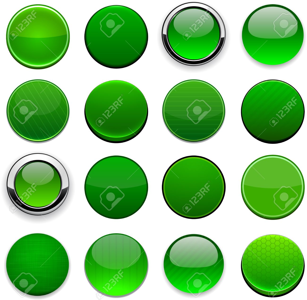 Set of blank round green buttons for website or app Stock Vector - 15060434