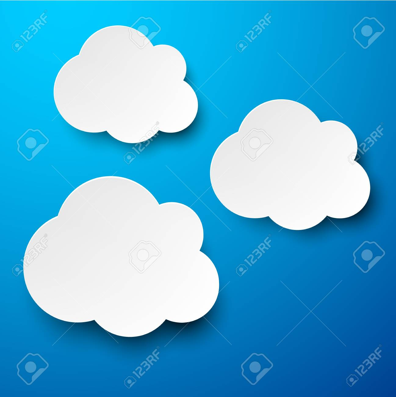 Vector abstract background composed of white paper clouds over blue  Eps10 Stock Vector - 17272672