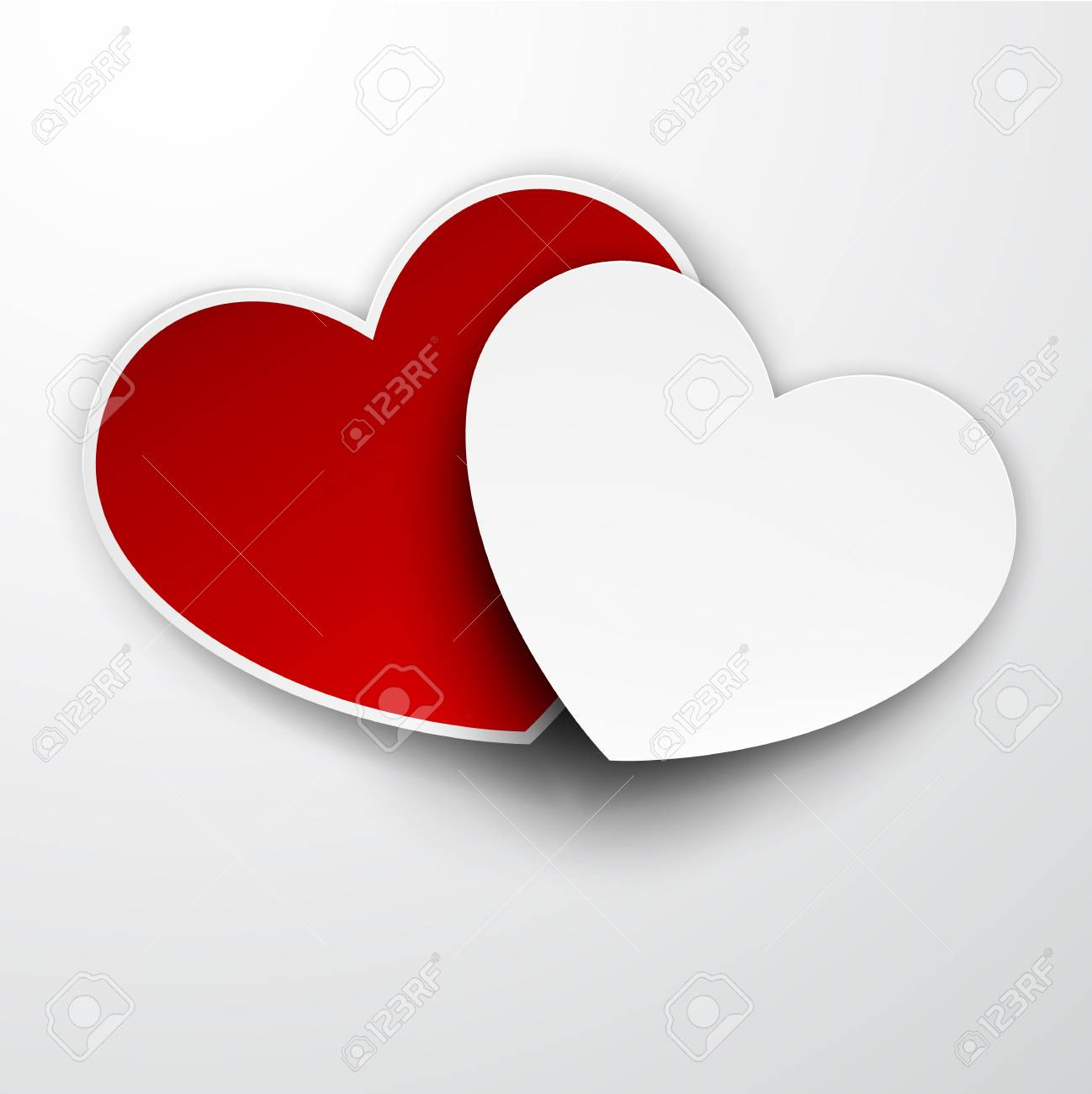 Vector illustration of realistic red and white paper hearts. Eps10. Stock Vector - 17272694
