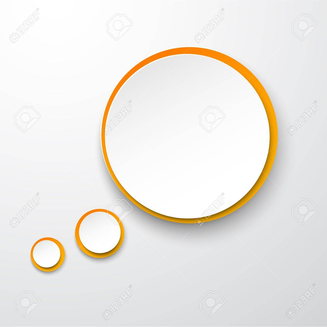 Vector illustration of white and orange paper round speech bubble Stock Vector - 17602307