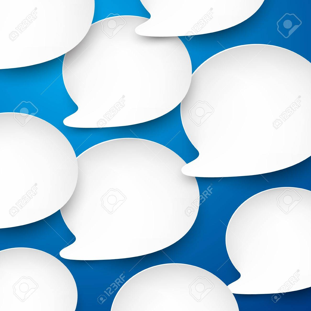 Vector abstract illustration of white paper speech bubbles on blue background Stock Vector - 17602336