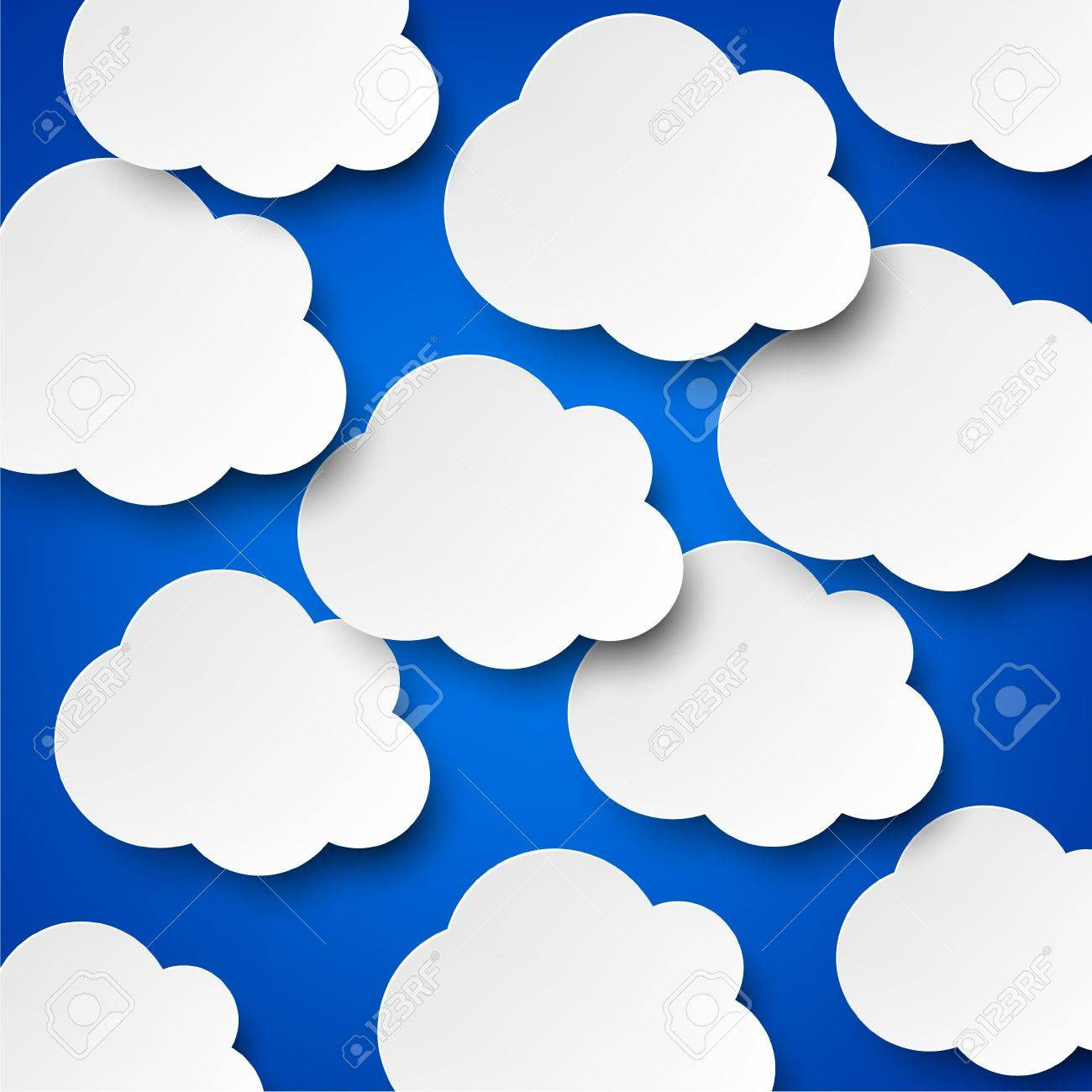Vector abstract background composed of white paper clouds over blue Stock Vector - 17602357