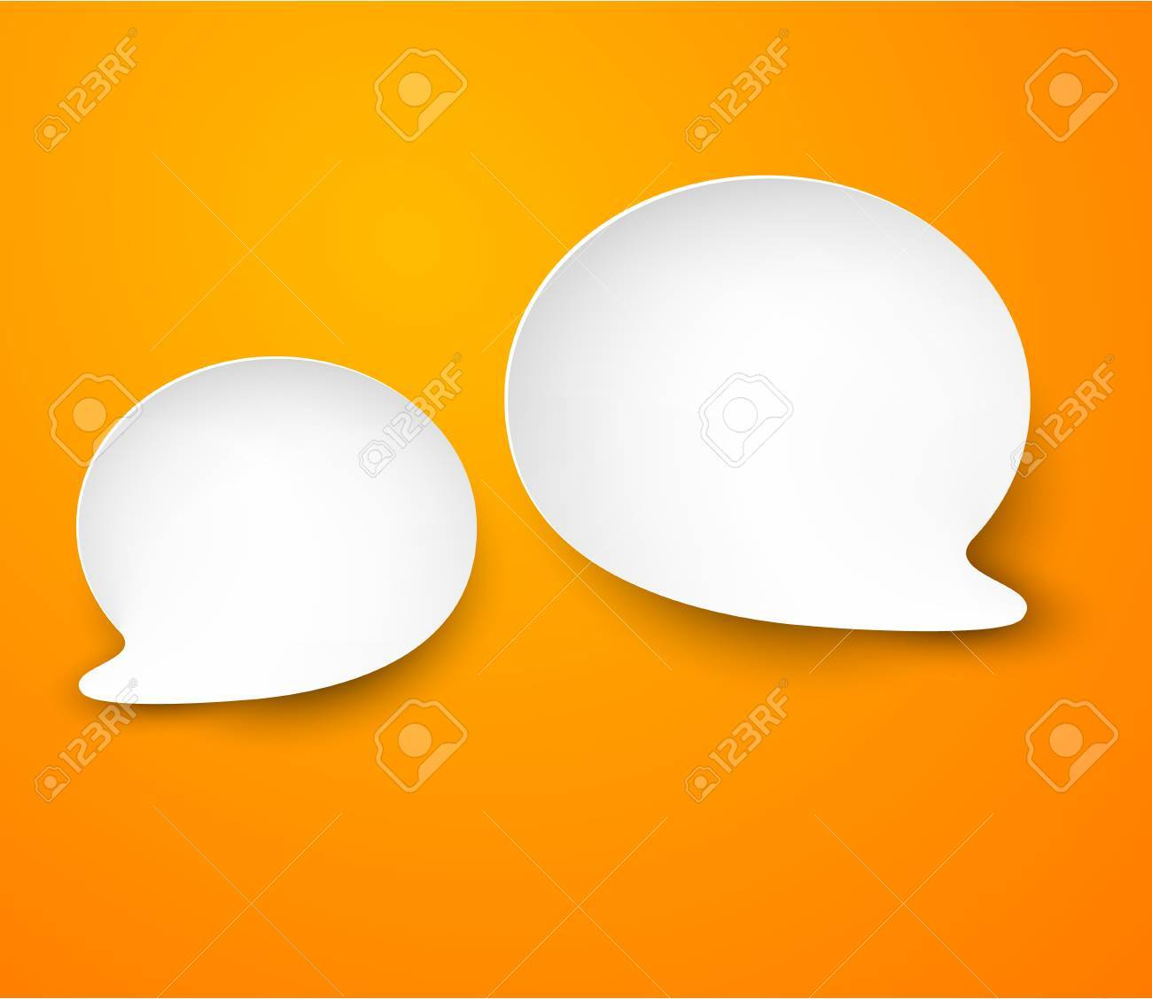 Vector abstract illustration of white paper speech bubbles on orange background Stock Vector - 17602345