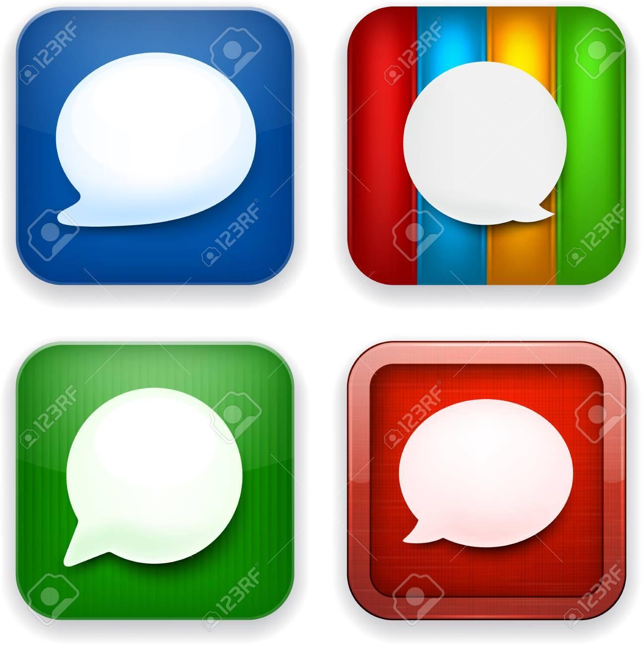 Vector illustration of high-detailed speech bubble apps icon templates. Talk concept. Stock Vector - 17872609