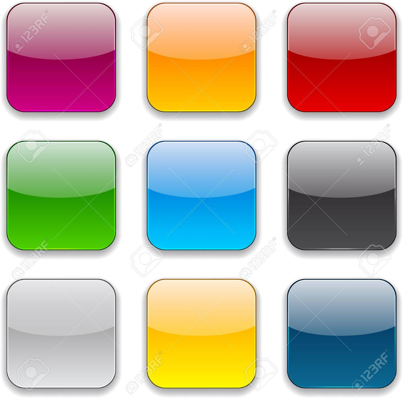 Set of blank colorful square buttons for website or app