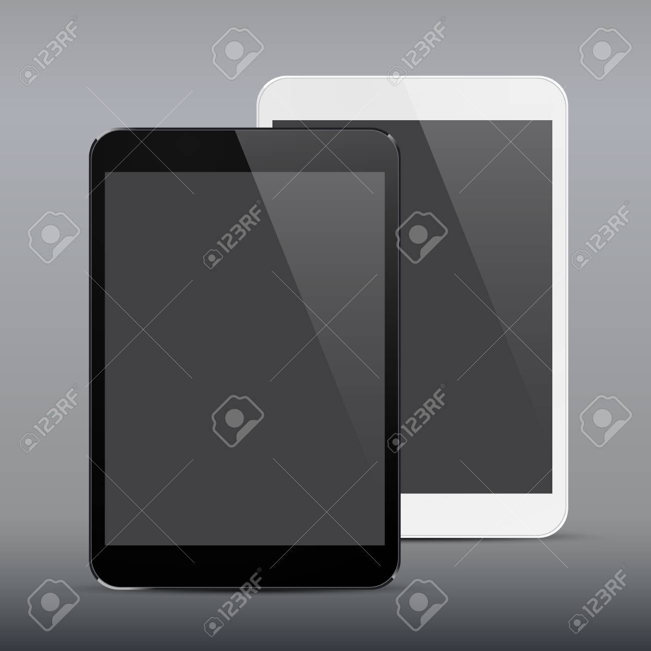 illustration of black and white modern realistic tablet pad with empty screen. Stock Vector - 20626004