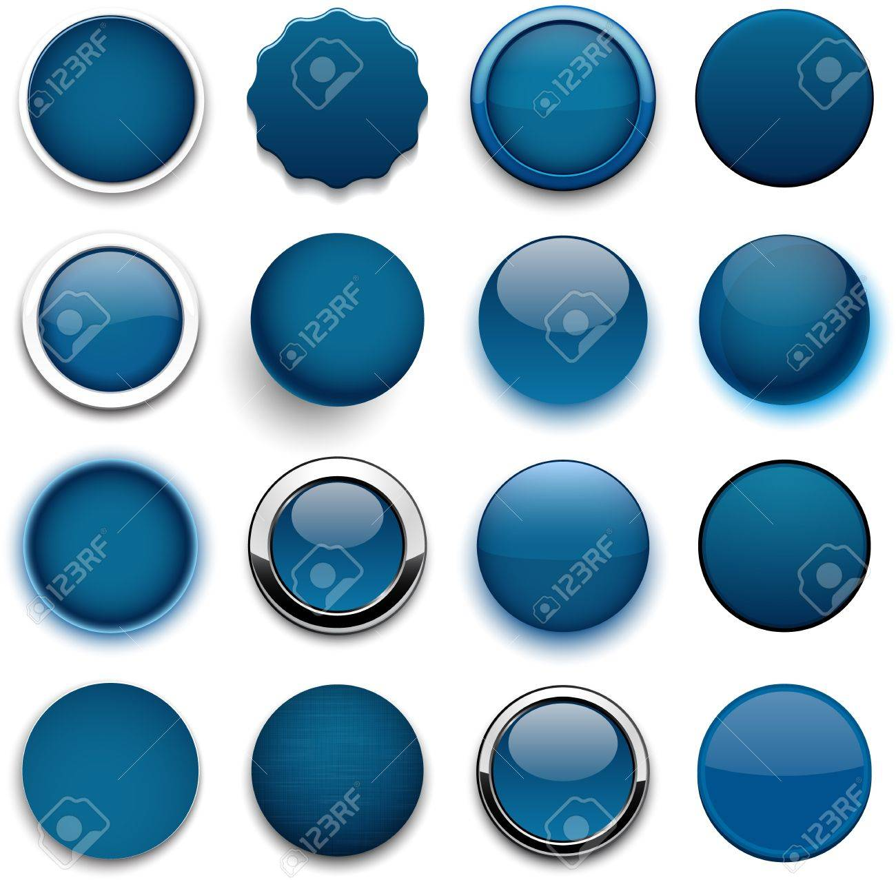 Set of blank dark blue round buttons for website or app. Stock Vector - 20840883