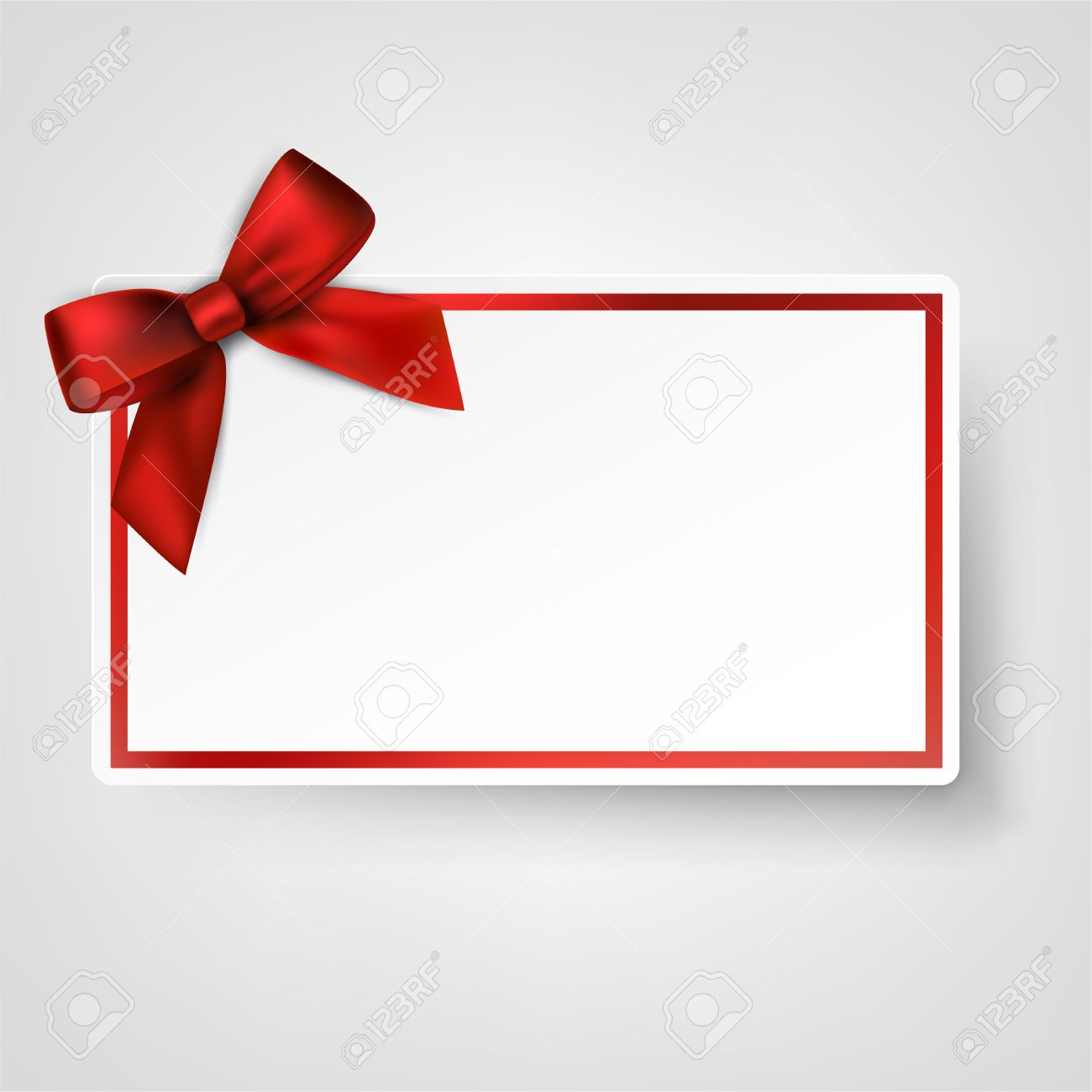 Super Carte-cadeau Avec Ruban Et Noeud De Satin Rouge. Vector  BC42