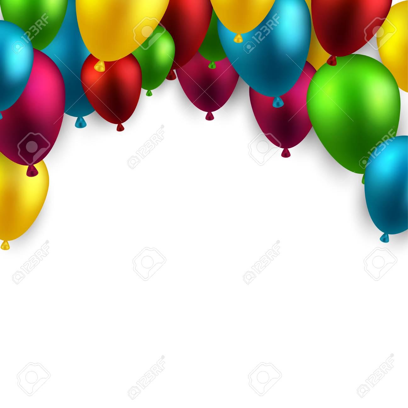 Celebración arco de fondo con globos de colores. Ilustración del vector.  Foto de archivo d5191be896b