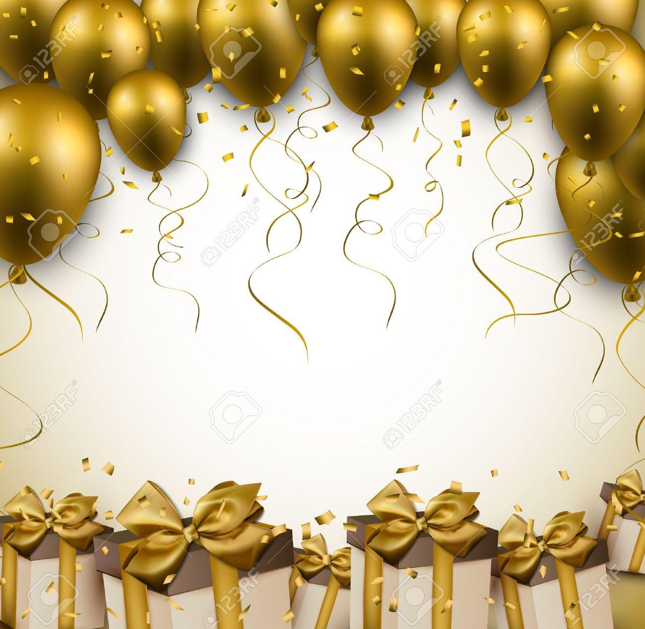 Celebración de oro de fondo con globos y confeti. Ilustración del vector.  Foto de 306576f18f7