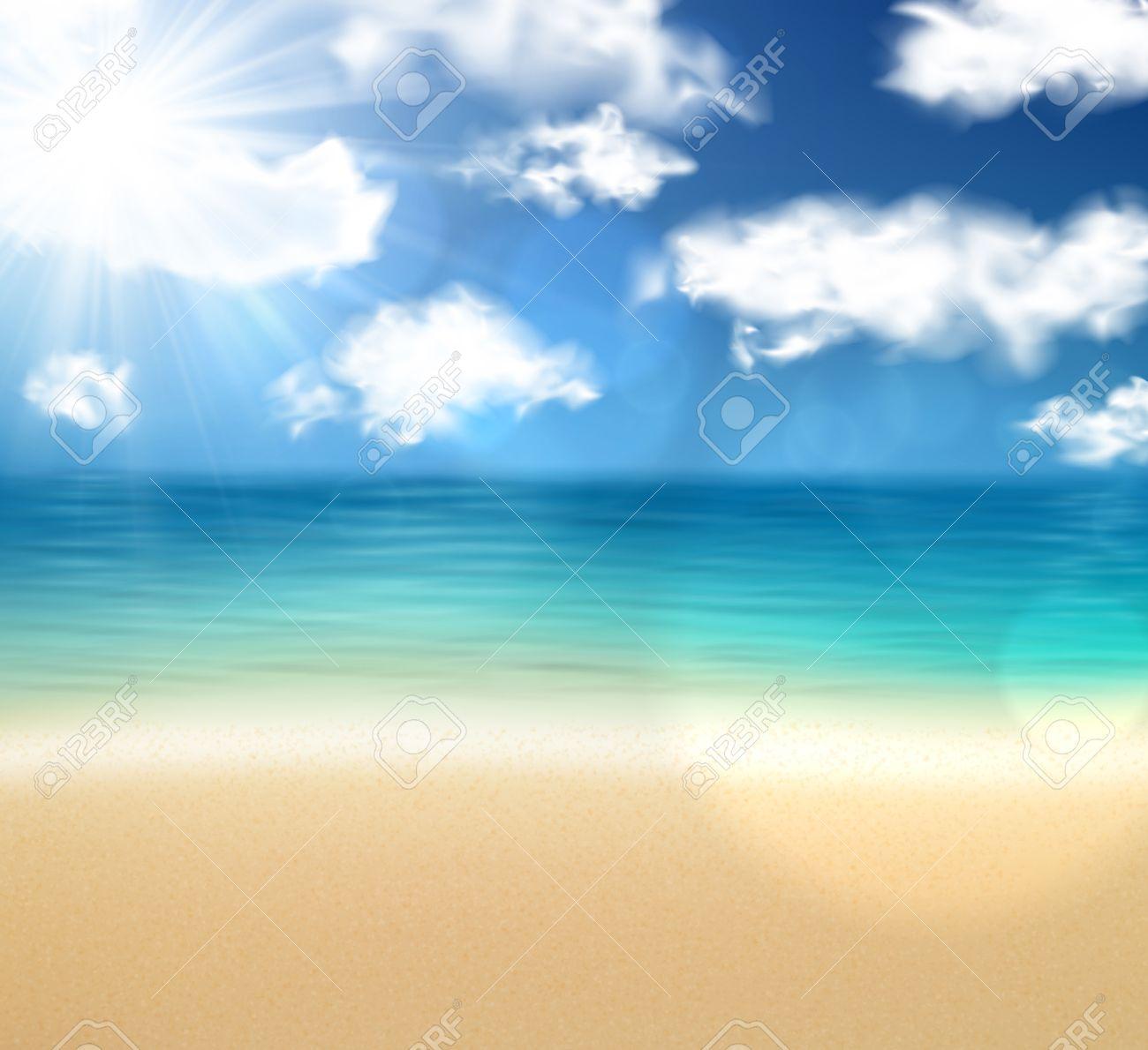 海と空と夏の海岸。熱帯の背景。ベクトル イラスト。 ロイヤリティ