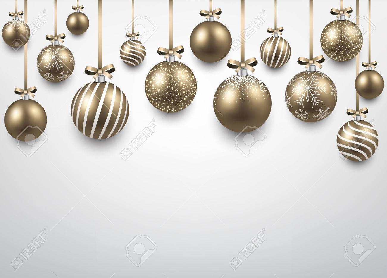 Abstrait Arc Avec Des Boules De Noël Dorées Vector Illustration