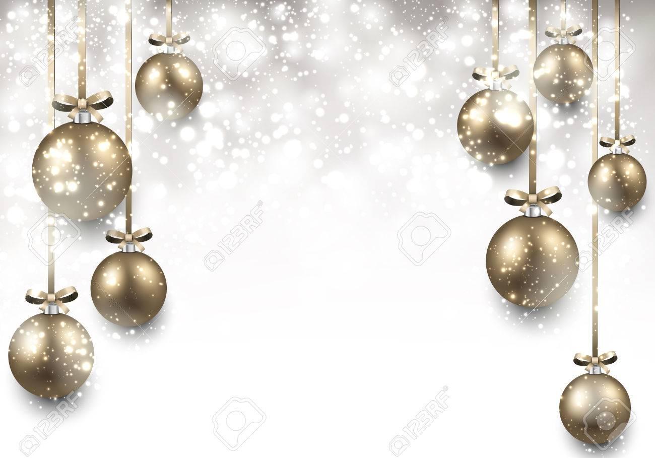 Abstrac Fond Avec Des Boules De Noël Dorées Vector Illustration