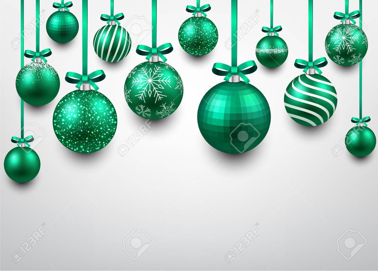 Abstract Arc Background With Green Christmas Balls Vector Illustration Stock
