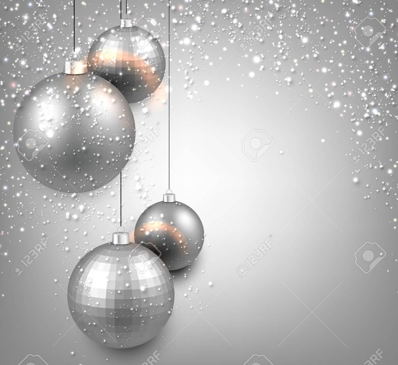 Résumé De Fond Avec Des Boules De Noël Argent. Vector Illustration