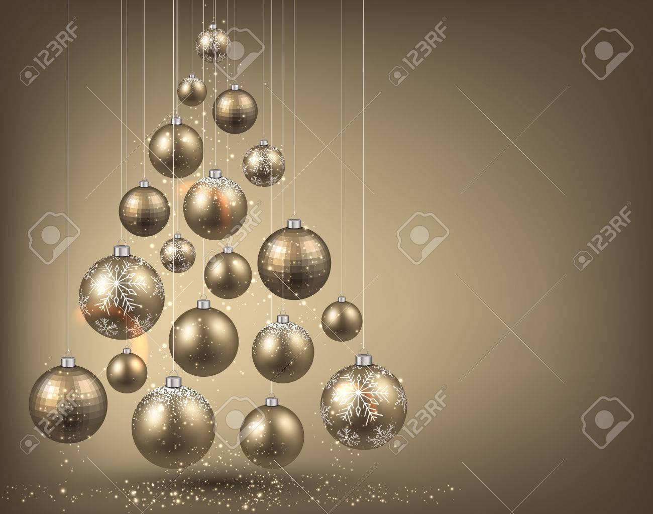 Christmas tree with golden christmas balls. Vector illustration. - 33726570