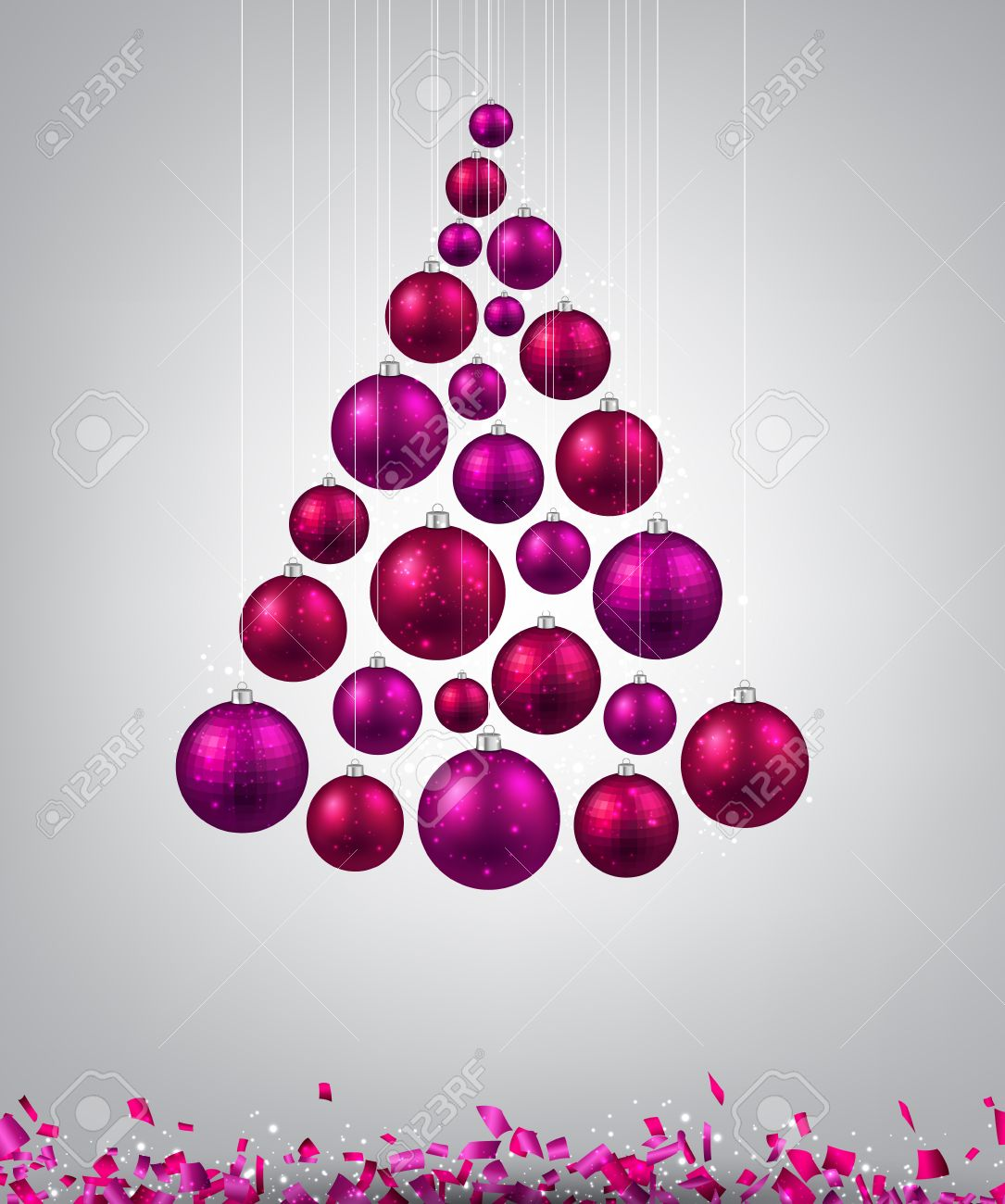 foto de archivo rbol de navidad con bolas de navidad de color magenta ilustracin del vector