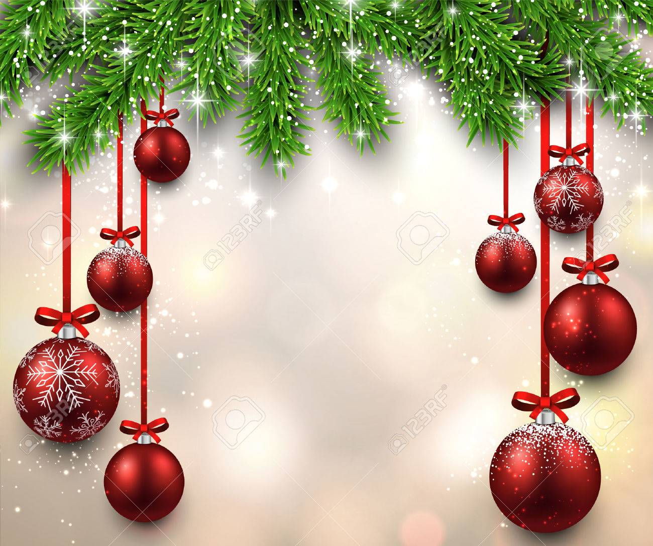 Christmas illustration with fir twigs and red balls. Vector background. - 33871038