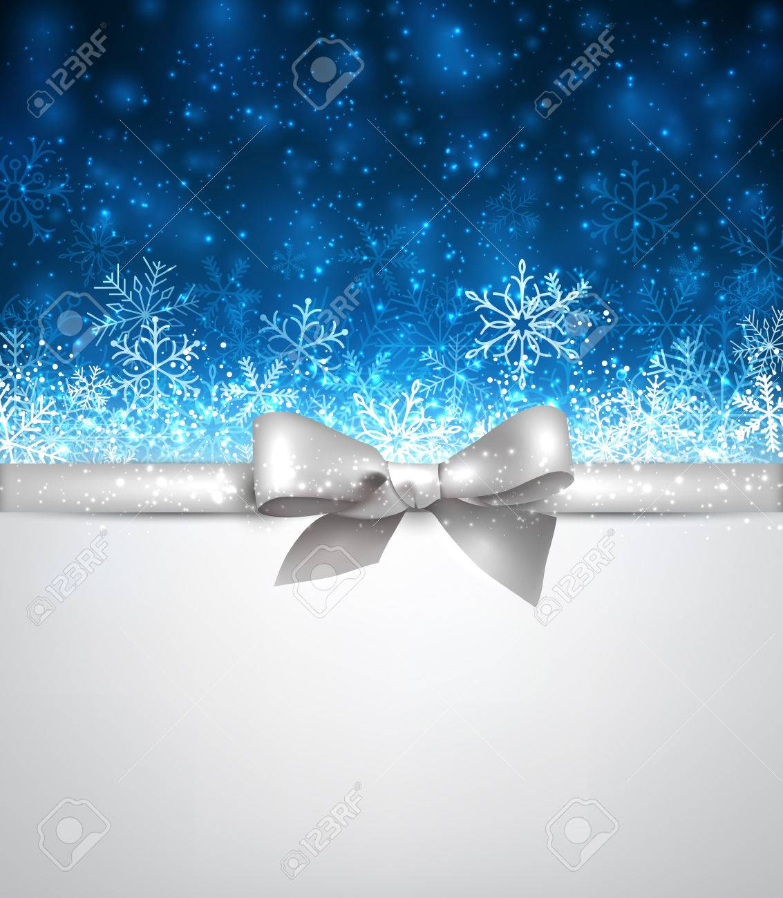 Shiny Blue Christmas Background With Silver Bow Vector Winter Illustration Stock