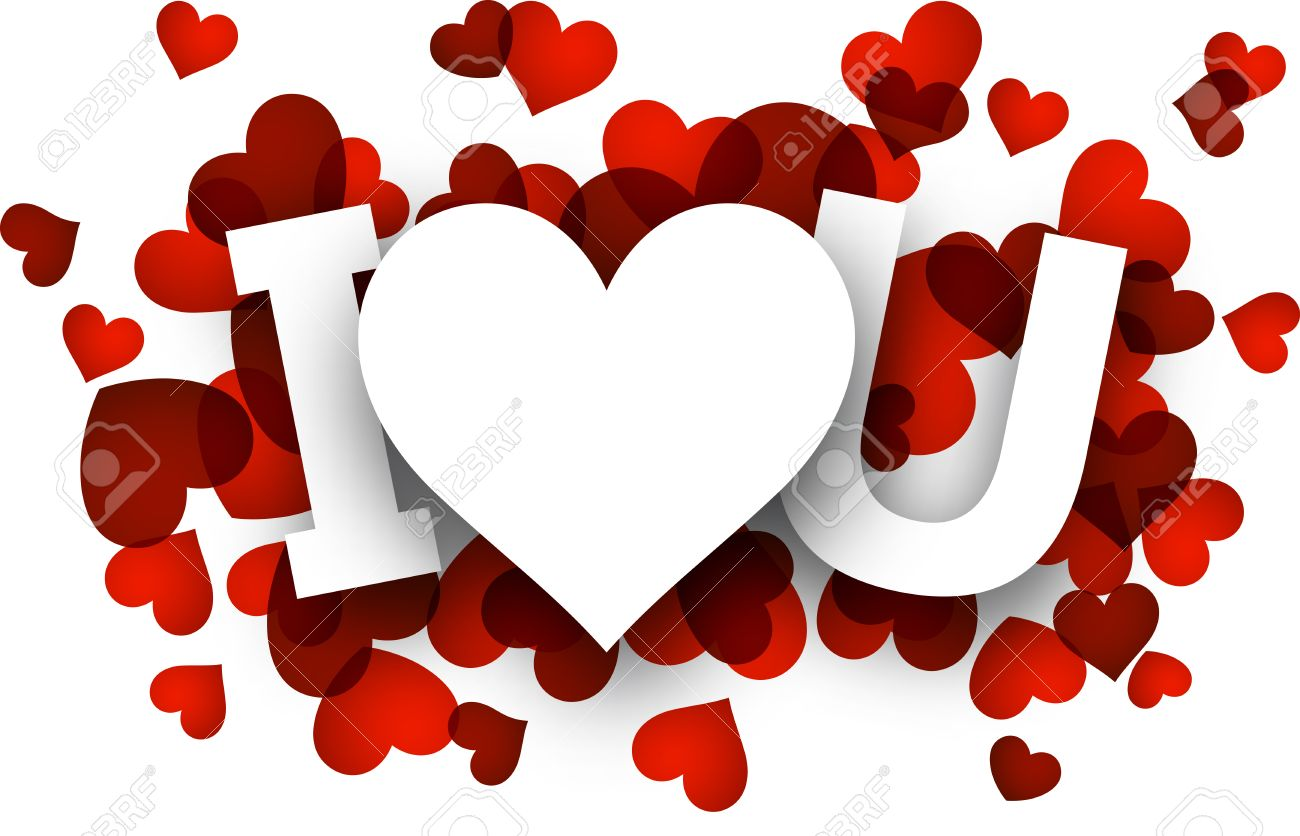 white i love u sign over red hearts royalty free cliparts vectors