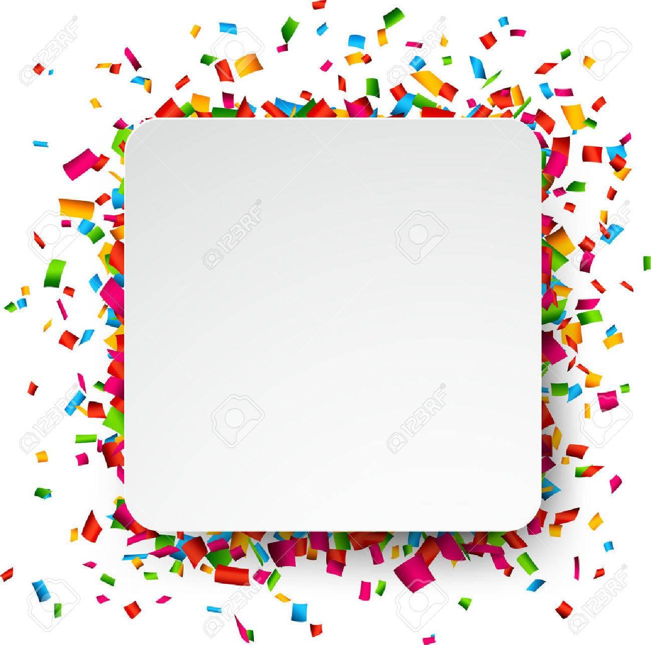 Colorful celebration background. Paper speech bubble with confetti. Vector Illustration. Stock Vector - 35740752