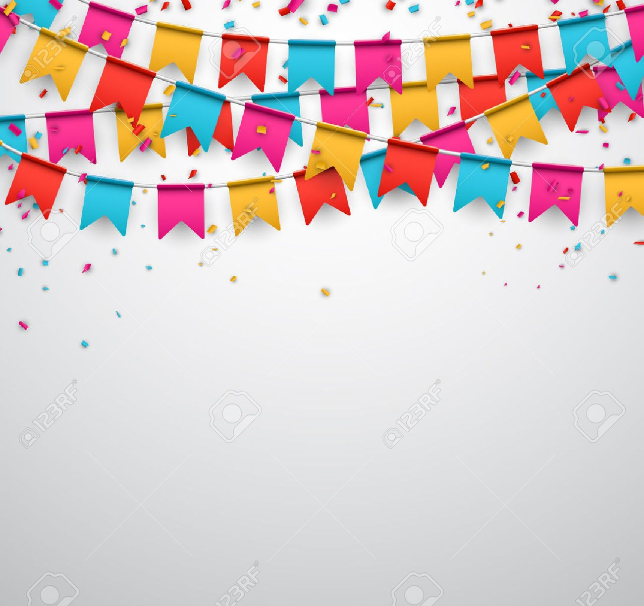 Celebrate banner. Party flags with confetti. Vector illustration. Stock Vector - 36472221
