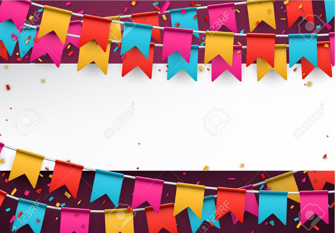 White paper note. Colorful celebration background with confetti. Vector Illustration. Stock Vector - 42720219