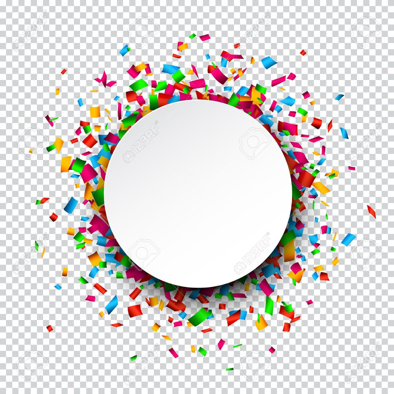 Colorful celebration background. Paper round speech bubble with confetti. Stock Vector - 43211632