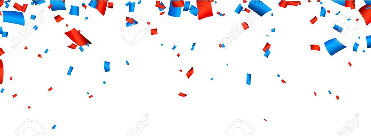 Colorful celebration banner with red and blue confetti. Vector background. Stock Vector - 43320834