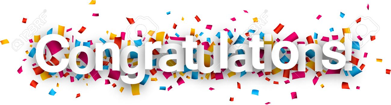 congratulations paper sign over confetti vector holiday