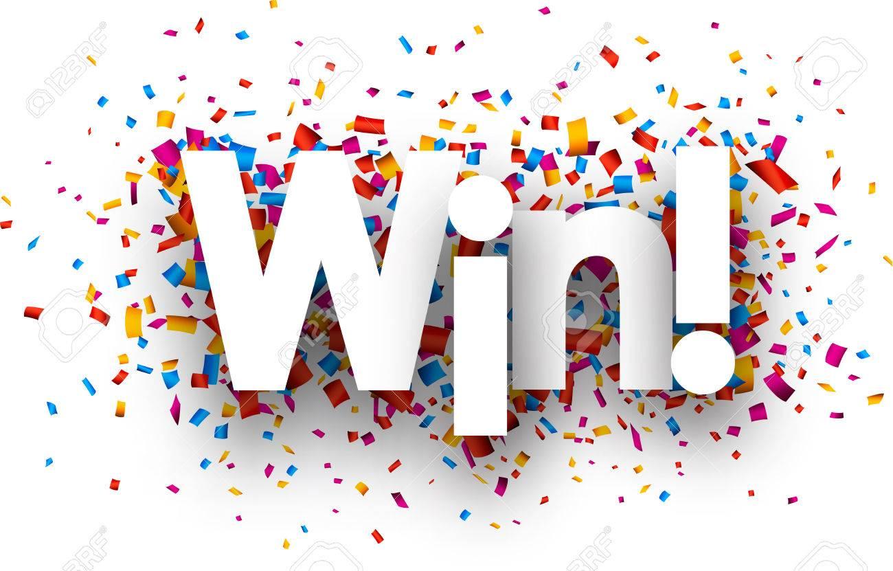 Win sign with colour confetti. Vector paper illustration. - 44827193