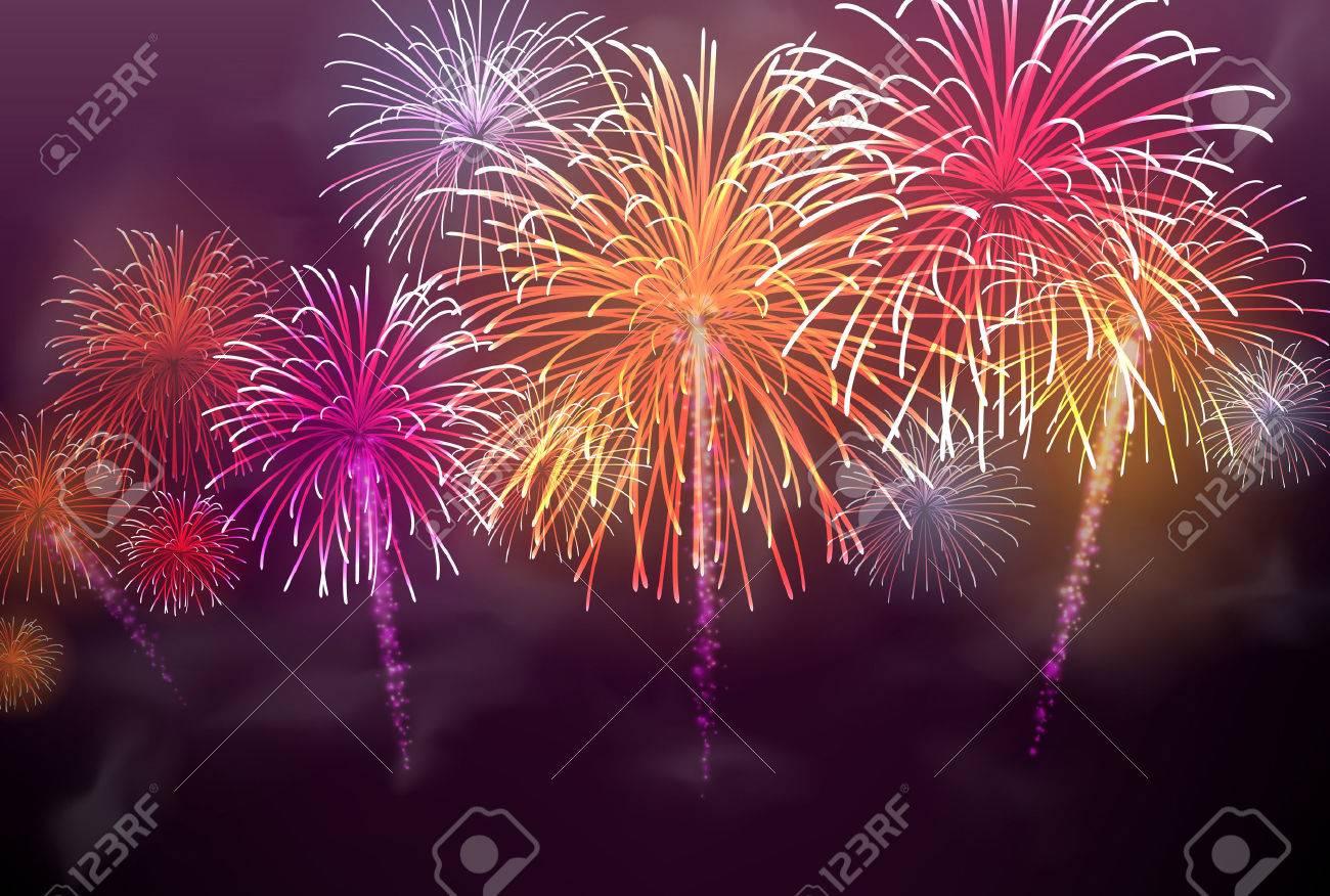 Festive colour firework background. Vector illustration. - 45574245