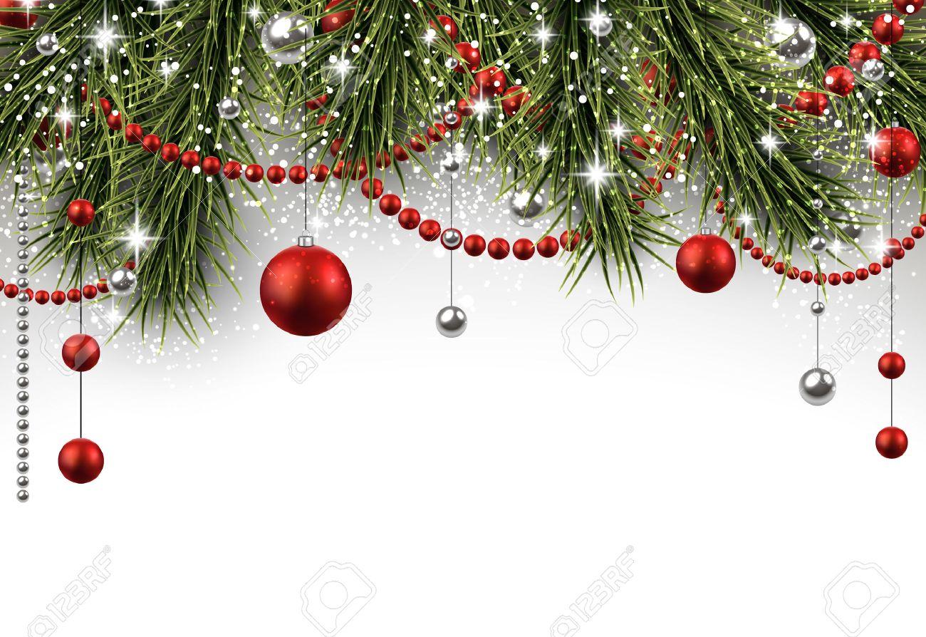 Free Christmas Background.Christmas Background With Fir Branches And Balls