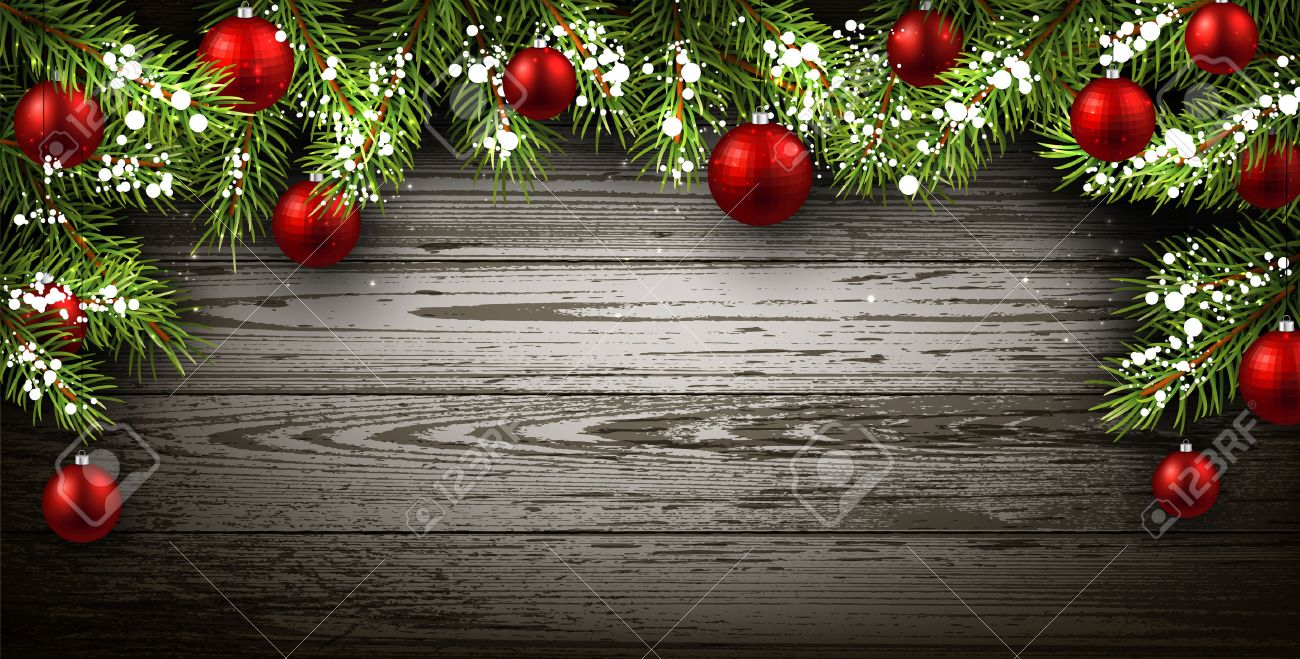 Christmas Wood Background.Christmas Wooden Background With Fir Branches And Balls