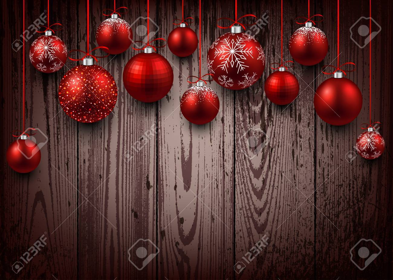 Christmas wooden background with red balls. - 47102760