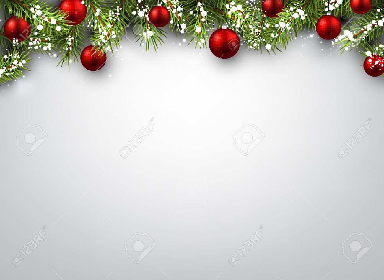 Christmas Background With Fir Branches And Red Balls Stock Vector