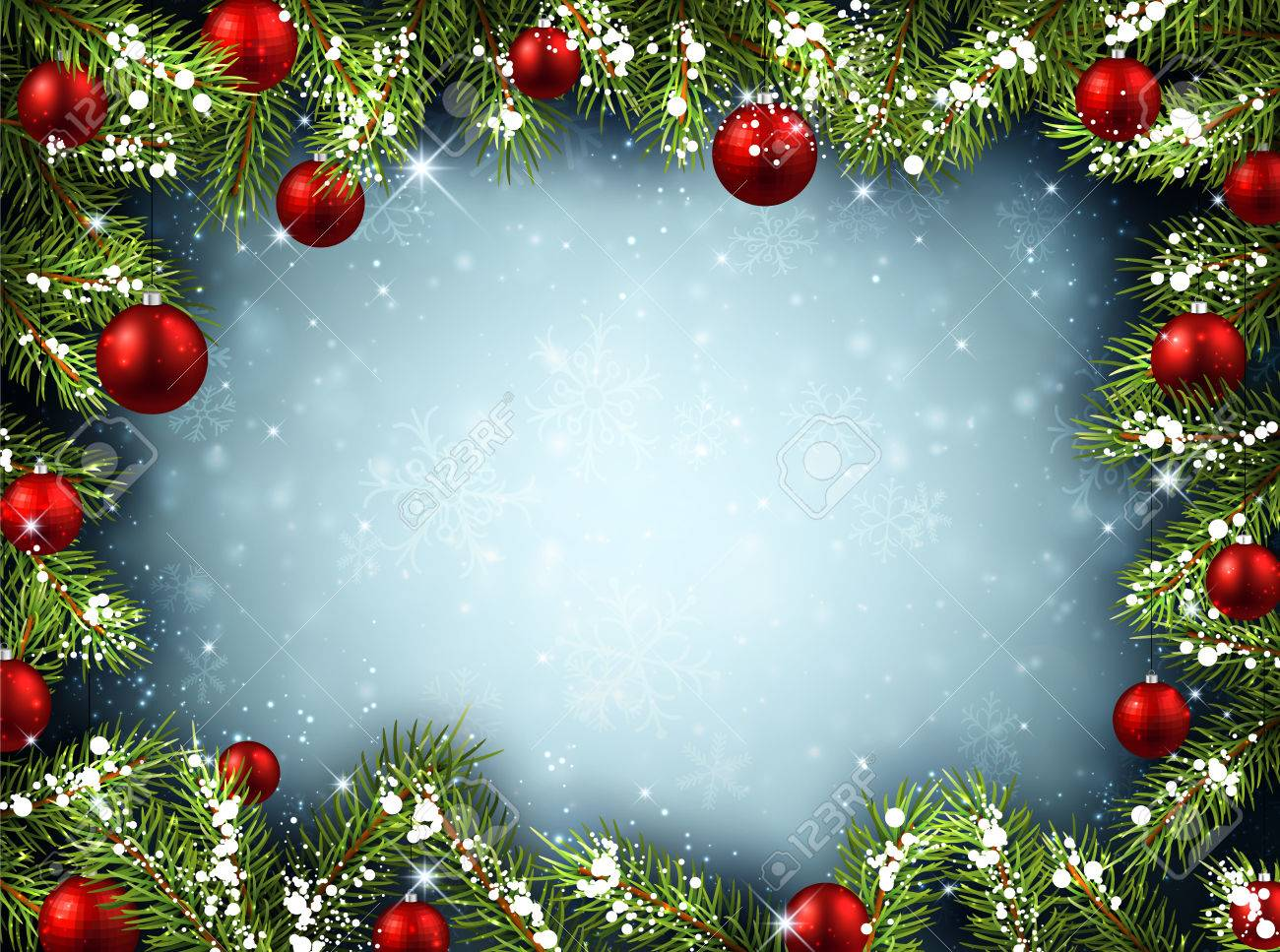 Christmas Background Pic.Christmas Background With Fir Branches And Balls Vector Illustration