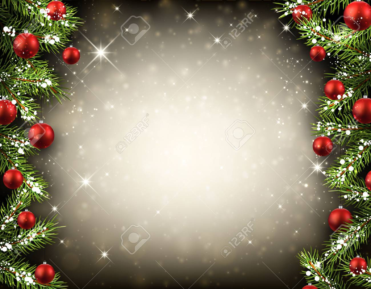 Christmas background with fir branches and balls. Vector illustration. - 49254076