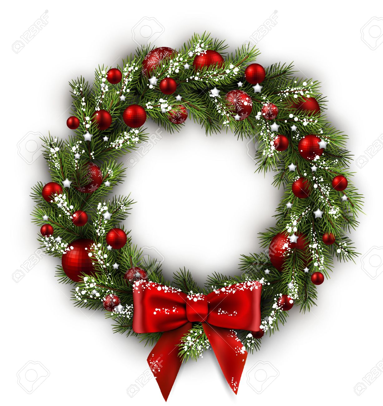 white card with christmas wreath and bow vector illustration