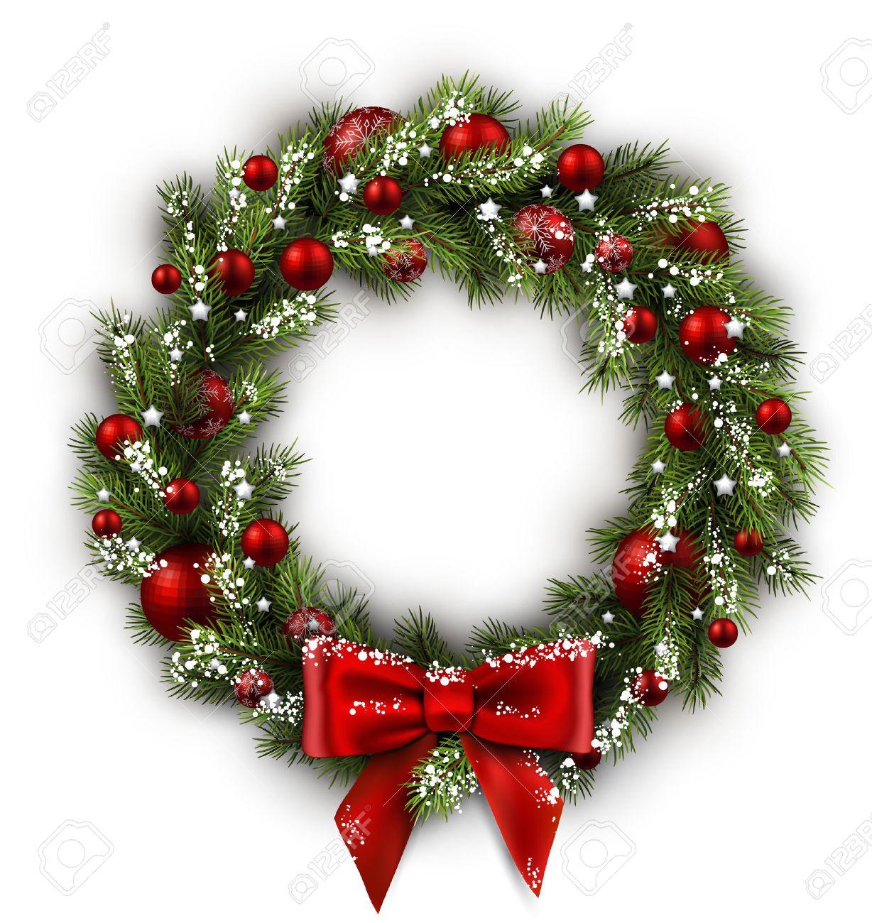 Tarjeta Blanca Con La Guirnalda De La Navidad Y El Arco Ilustracion - Guirnalda-navidad