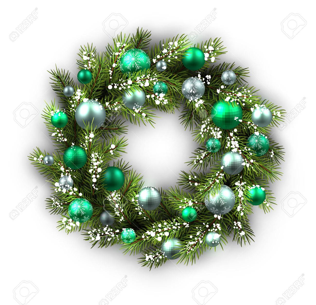 Christmas Wreath Vector.White Card With Christmas Wreath Vector Paper Illustration