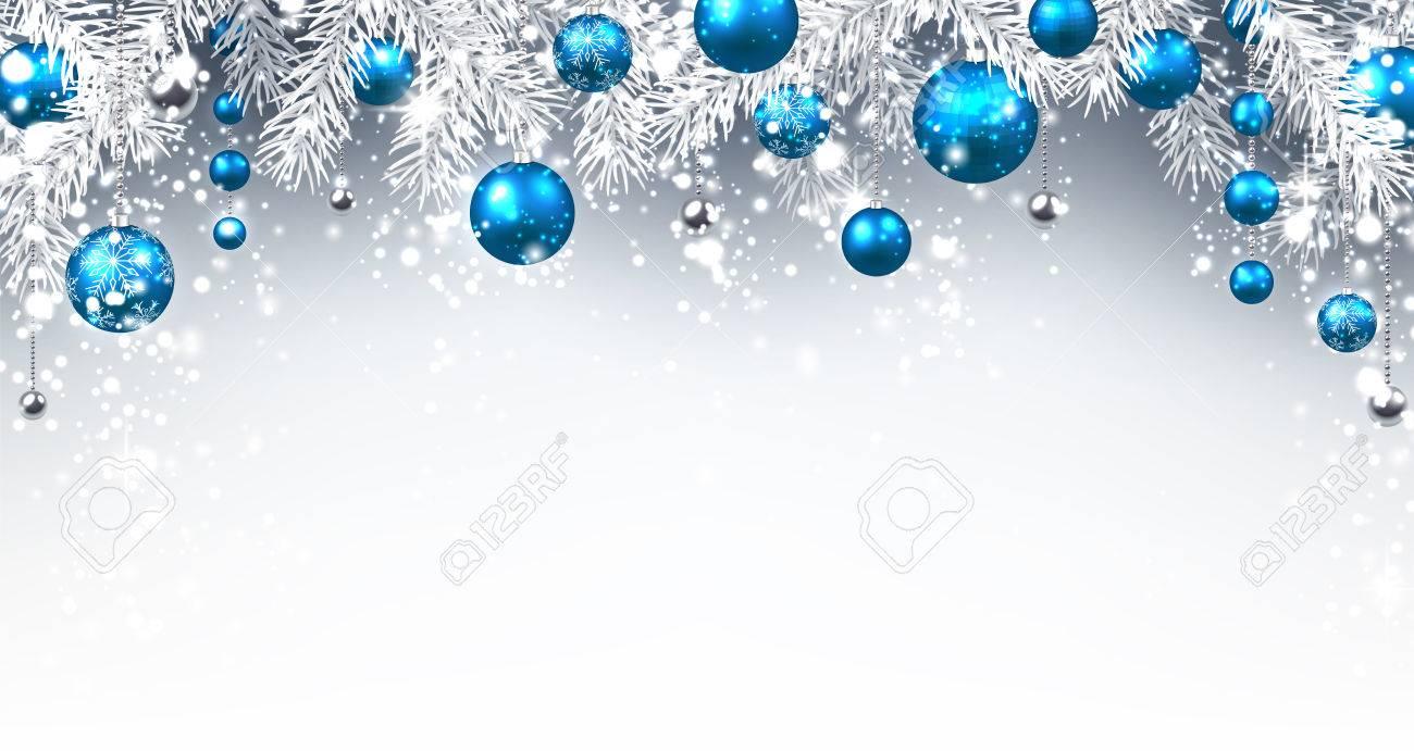 Fondo De Navidad Con Bolas De Color Azul Vector Ilustración De Papel