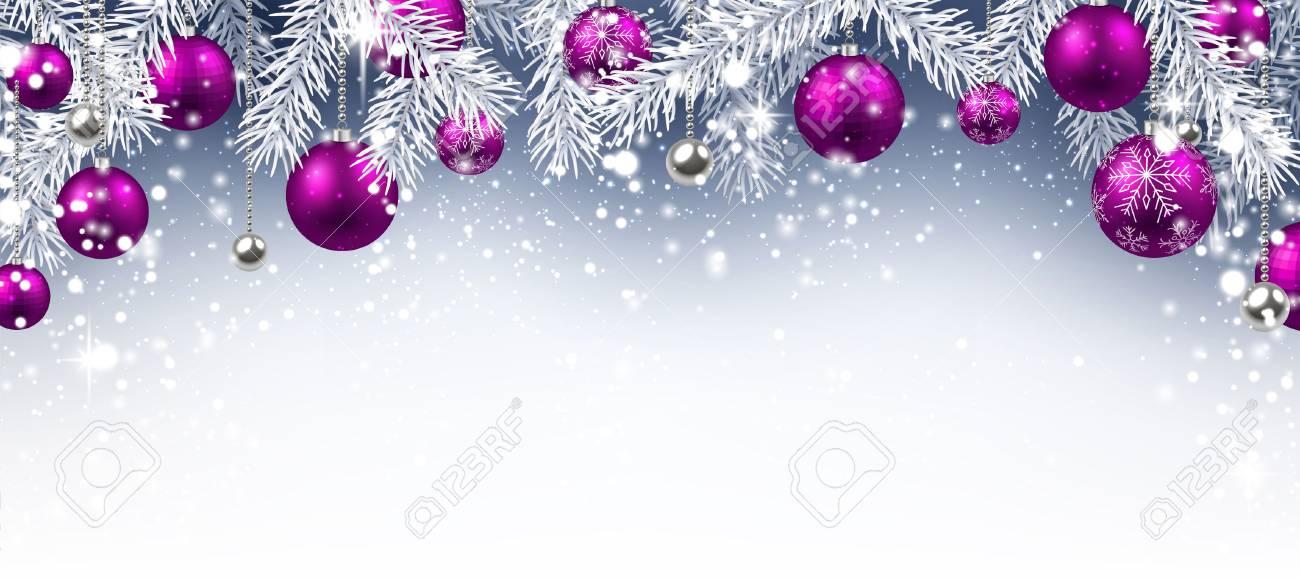 Fondo De Navidad Con Bolas De Color Púrpura. Vector Ilustración De ...