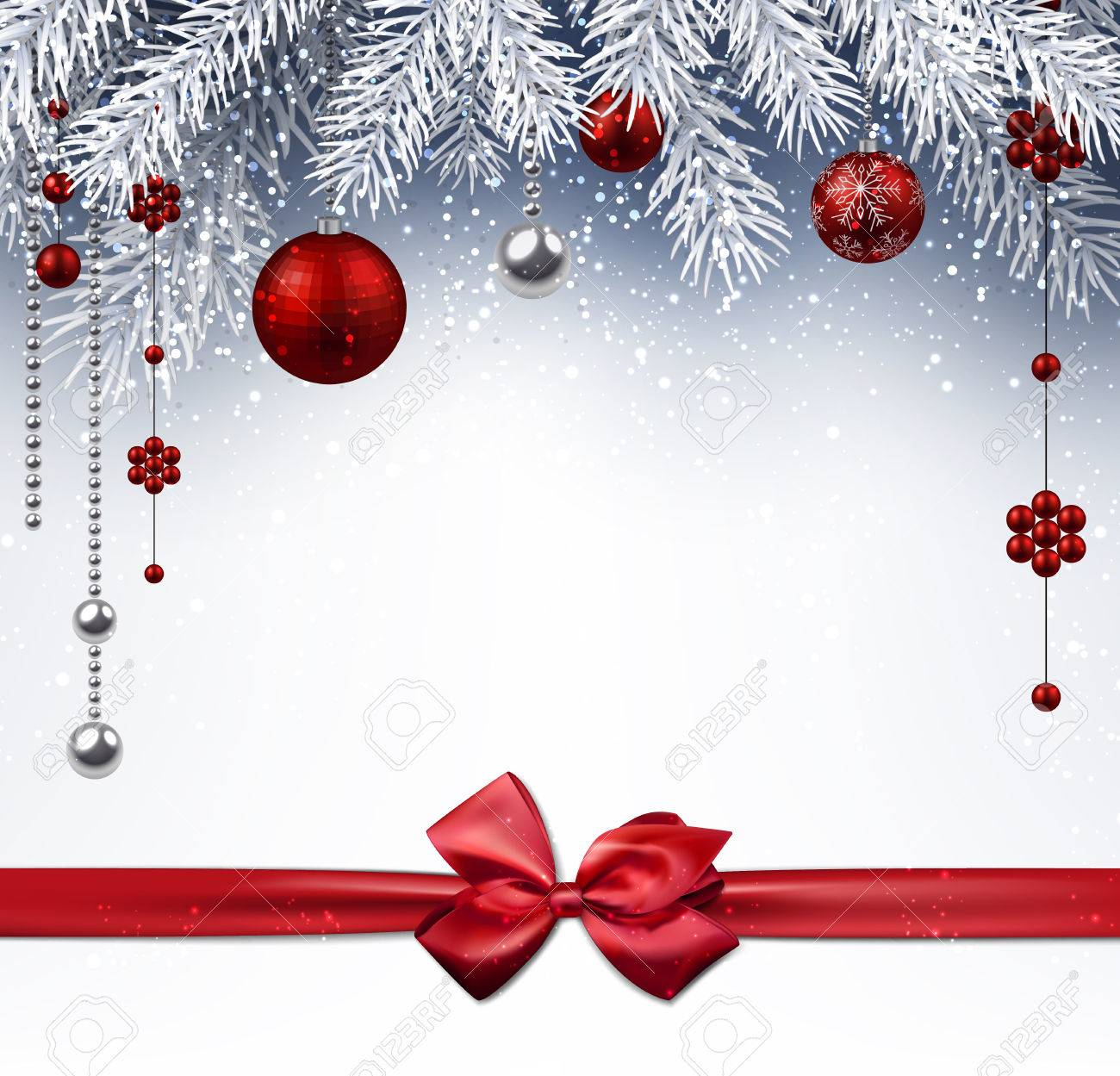 Christmas background with red balls and bow. Vector illustration. - 48772015