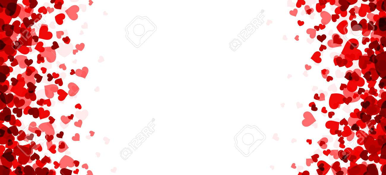 Romantic white background with red hearts. Vector paper illustration. - 50448460