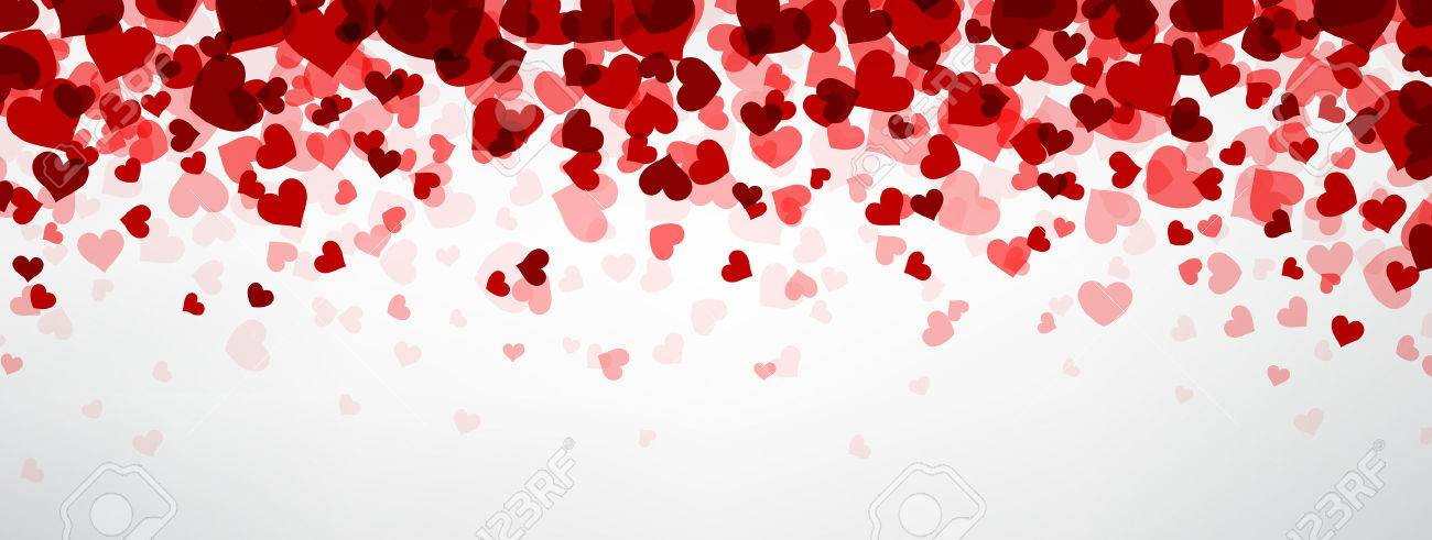 Romantic background with hearts. Vector paper illustration. - 50448466