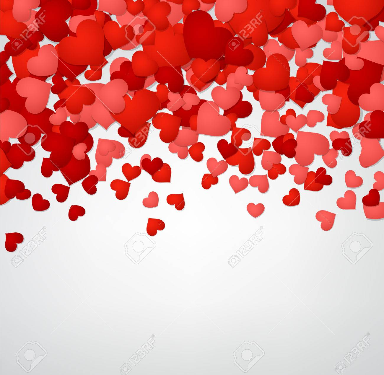 Romantic Valentine Background With Red Hearts. Vector Illustration. Stock  Vector   50638716