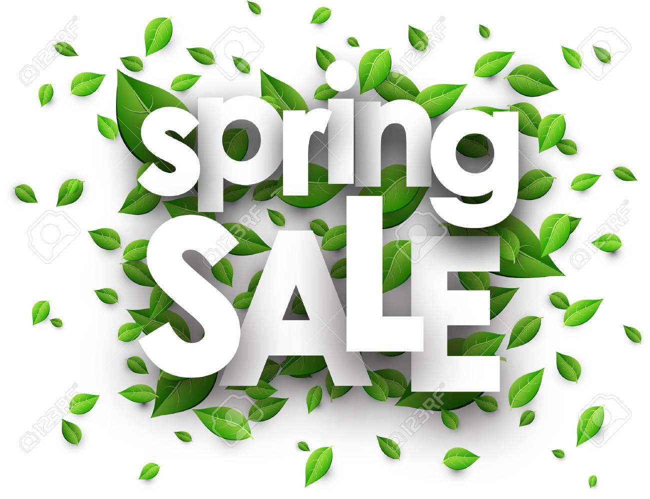 Spring sale paper white background with green leaves. Vector illustration. - 54826997
