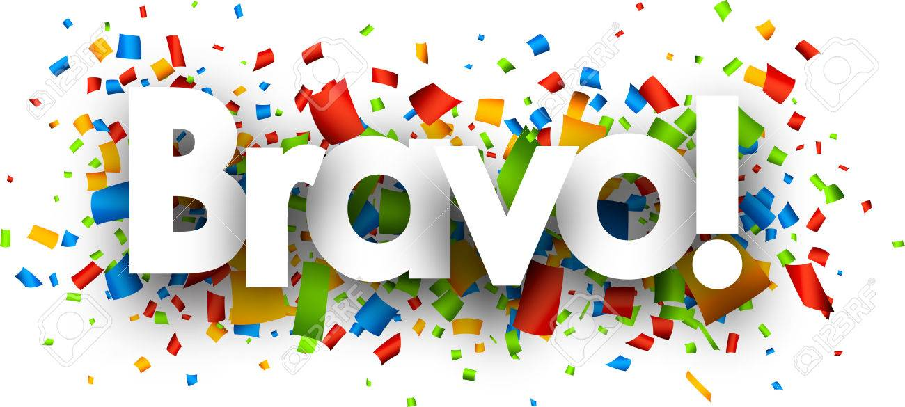 Image Bravo bravo banner with color confetti. vector illustration. royalty free