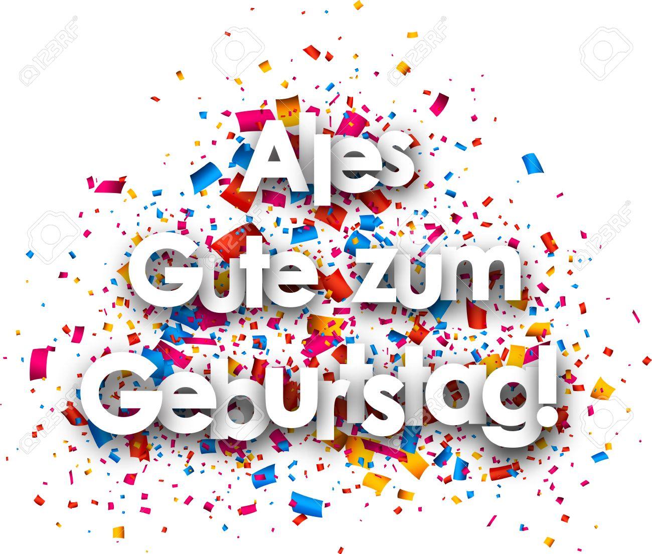 Happy Birthday Paper Card With Color Confetti German Vector – Birthday Card in German